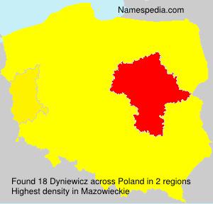 Surname Dyniewicz in Poland