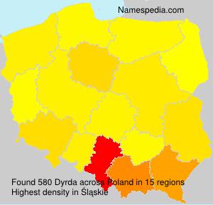Surname Dyrda in Poland