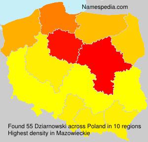 Surname Dziarnowski in Poland