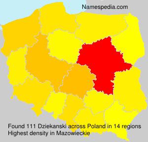 Surname Dziekanski in Poland