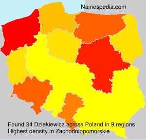 Surname Dziekiewicz in Poland