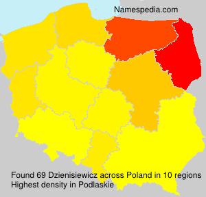 Surname Dzienisiewicz in Poland