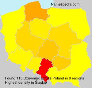 Surname Dzienniak in Poland