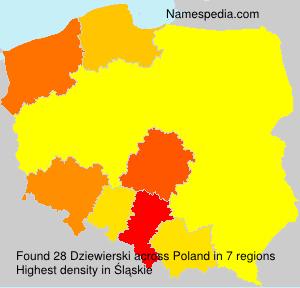 Familiennamen Dziewierski - Poland