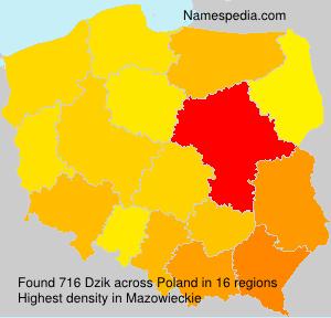 Surname Dzik in Poland