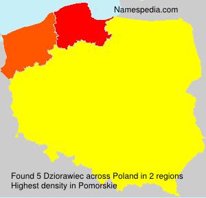 Familiennamen Dziorawiec - Poland