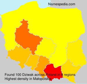 Surname Dziwak in Poland