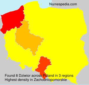 Familiennamen Dziwior - Poland