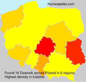 Surname Dzwonik in Poland
