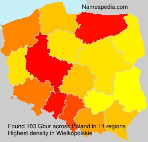 Familiennamen Gbur - Poland