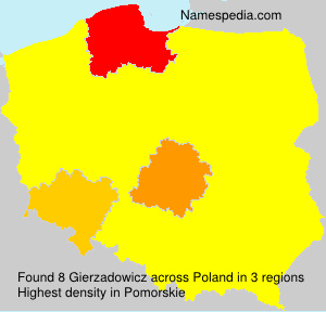 Surname Gierzadowicz in Poland