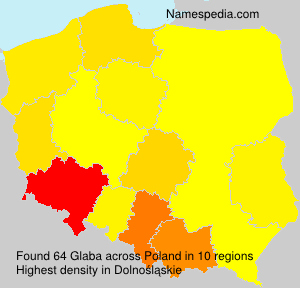 Surname Glaba in Poland