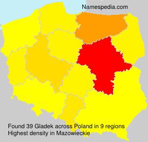 Surname Gladek in Poland