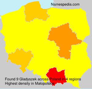 Surname Gladyszek in Poland