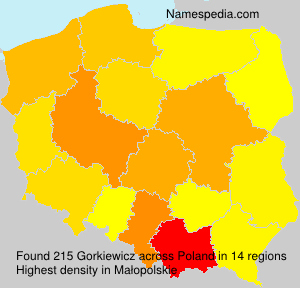 Familiennamen Gorkiewicz - Poland
