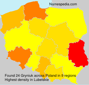 Familiennamen Gryniuk - Poland