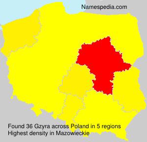 Familiennamen Gzyra - Poland
