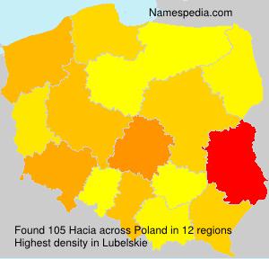 Surname Hacia in Poland