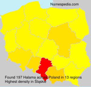Surname Halama in Poland