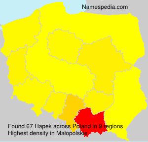 Surname Hapek in Poland