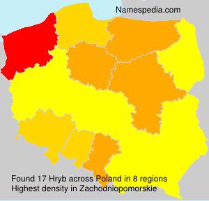 Familiennamen Hryb - Poland