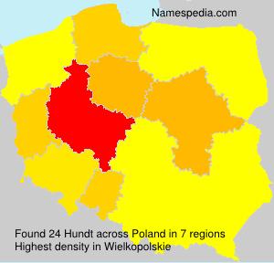 Surname Hundt in Poland