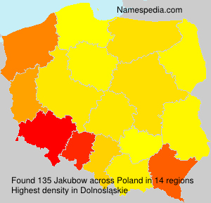 Surname Jakubow in Poland