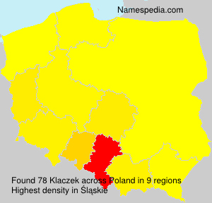 Surname Klaczek in Poland
