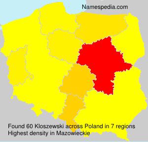 Surname Kloszewski in Poland