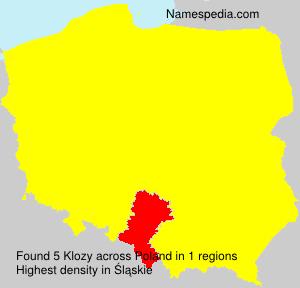 Surname Klozy in Poland