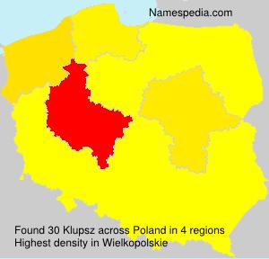 Surname Klupsz in Poland