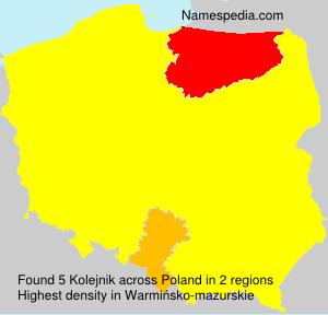 Surname Kolejnik in Poland
