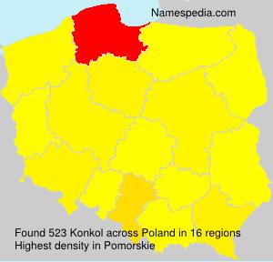 Familiennamen Konkol - Poland