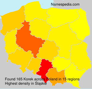 Surname Korek in Poland