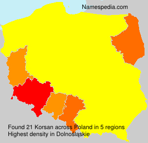 Familiennamen Korsan - Poland