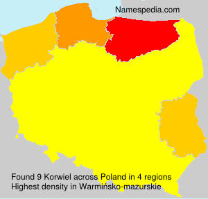 Surname Korwiel in Poland