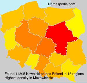 Surname Kowalski in Poland