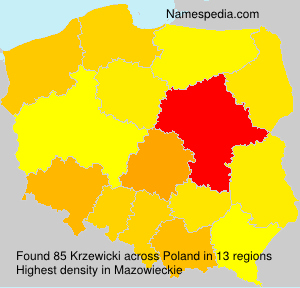 Surname Krzewicki in Poland