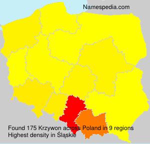 Surname Krzywon in Poland