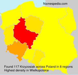 Surname Krzyzosiak in Poland