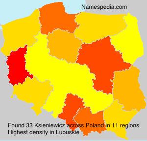 Surname Ksieniewicz in Poland