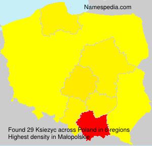 Surname Ksiezyc in Poland