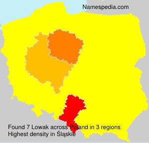 Surname Lowak in Poland
