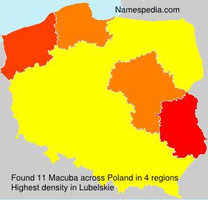 Familiennamen Macuba - Poland