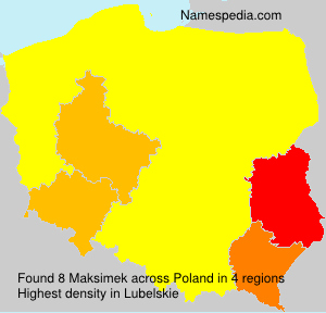 Surname Maksimek in Poland