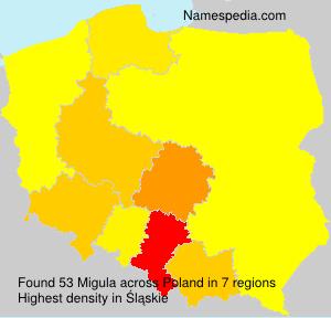 Surname Migula in Poland