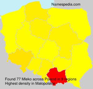 Surname Mleko in Poland