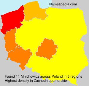 Surname Mnichowicz in Poland