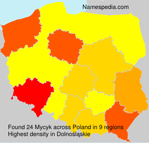 Surname Mycyk in Poland