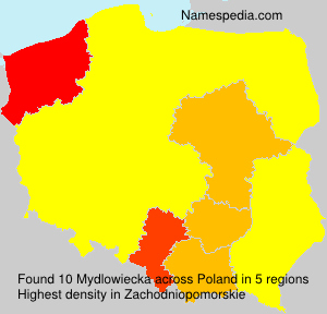 Surname Mydlowiecka in Poland